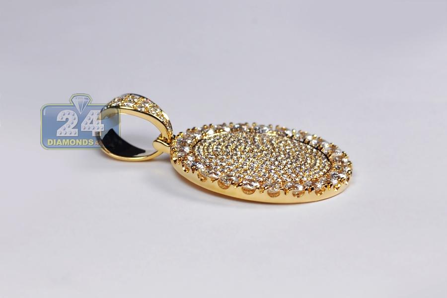 Mens diamond round medallion pendant 14k yellow gold 773 ct aloadofball Gallery