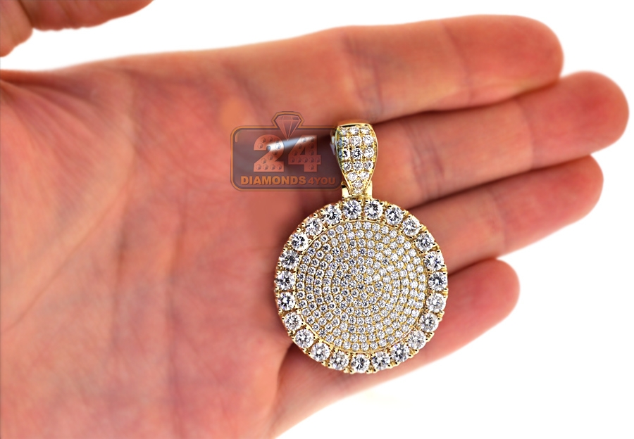 Mens diamond round medallion pendant 14k yellow gold 773 ct mozeypictures Images