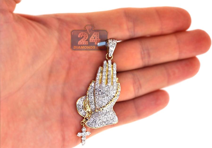 Mens Diamond Praying Hands Religious Pendant 10k Yellow