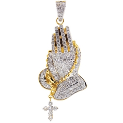 Mens Diamond Praying Hands Religious Pendant 10K Yellow Gold 5 Ct