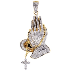 Mens Diamond Praying Hands Cross Pendant 14K Yellow Gold 5.73 ct