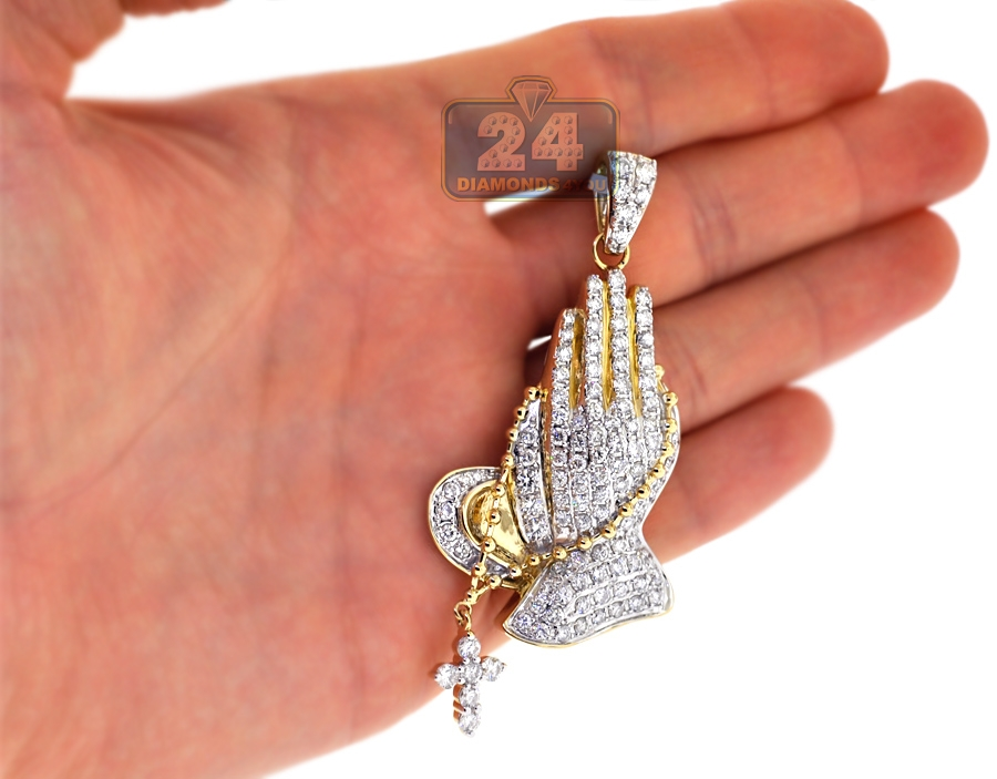 Mens diamond praying hands cross pendant 14k yellow gold 573 ct aloadofball Choice Image