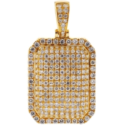 Mens Diamond Dog Tag ID Puff Pendant 14K Yellow Gold 2.01ct
