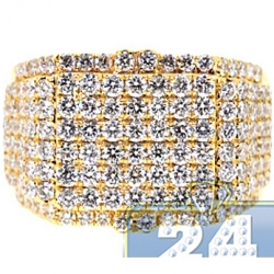 14K Yellow Gold 3.44 ct Round Cut Diamond Mens Signet Ring