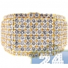 Mens Round Cut Diamond Signet Ring 14K Yellow Gold 3.44ct
