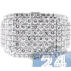 14K White Gold 3.44 ct Round Cut Diamond Mens Signet Ring