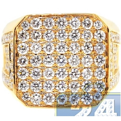 14K Yellow Gold Square 5.46 ct Diamond Mens Signet Ring