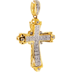 Mens Diamond Cheap Cross Pendant 10K Yellow Gold 0.31ct