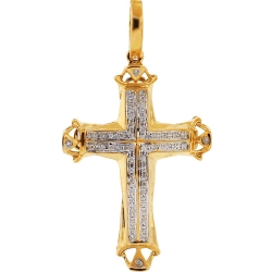 Mens Diamond Cheap Religious Cross Pendant 10K Yellow Gold .17ct