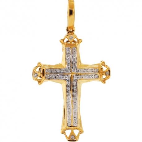Mens Diamond Cheap Religious Cross Pendant 10K Yellow Gold .17ct