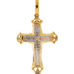 10K Yellow Gold 0.17 ct Diamond Mens Cross Pendant