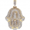 Mens Diamond Hamsa Hand Jewish Pendant 14K Yellow Gold 1.92ct
