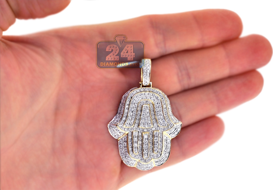 Mens diamond hamsa hand jewish pendant 14k yellow gold 192ct mozeypictures Images