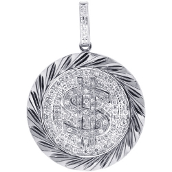 Mens Diamond Dollar Sign Round Pendant 14K White Gold 0.50ct