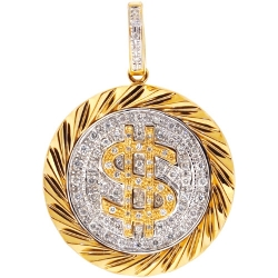 Mens Diamond Dollar Sign Round Pendant 14K Yellow Gold 0.50ct