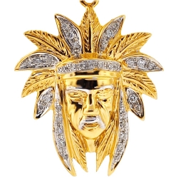 Mens Diamond American Indian Head Pendant 14K Yellow Gold 0.22ct