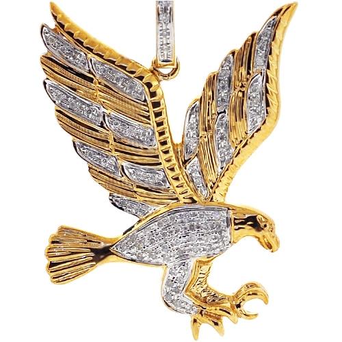 Mens diamond eagle wings pendant 10k yellow gold 027 carat aloadofball Images