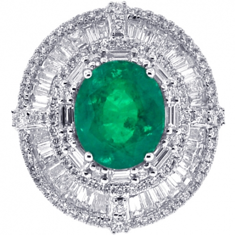 Womens Emerald Diamond Oval Shape Ring 18K White Gold 11.57 ct