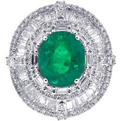 18K White Gold 11.57 ct Emerald Diamond Womens Ring