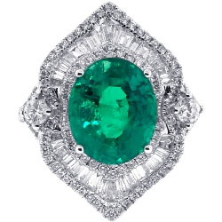 Womens Emerald Diamond Spades Ring 18K White Gold 6.44 ct