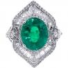 Womens Emerald Diamond Spades Ring 18K White Gold 6.44 ct