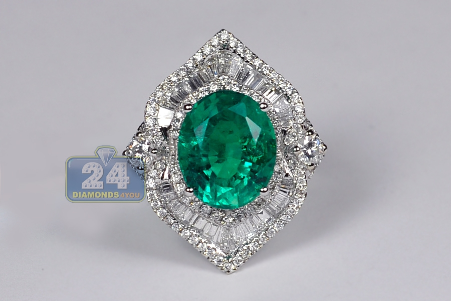 Womens Emerald Diamond Spades Ring 18k White Gold 6 44 Ct