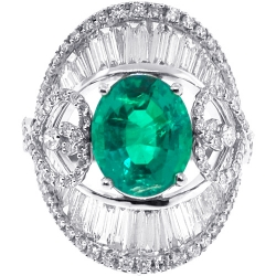 Womens Oval Emerald Diamond Large Ring 18K White Gold 8.85 ct