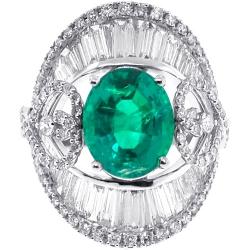18K White Gold 8.85 ct Emerald Diamond Womens Ring