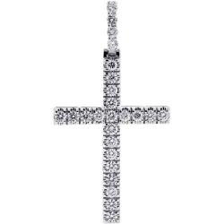 14K White Gold 3.11 ct Diamond Mens Cross Pendant