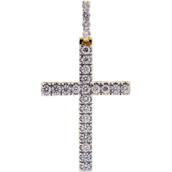 Mens Diamond Classic Cross Pendant 14K Yellow Gold 3.08 ct 2.5""