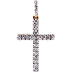 14K Yellow Gold 3.08 ct Diamond Mens Cross Pendant