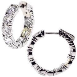 18K White Gold 7.50 ct Diamond Womens Round Hoop Earrings