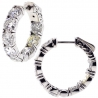 Womens Diamond Round Hoop Earrings 18K White Gold 7.50 ct