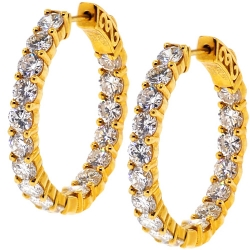 18K Yellow Gold 5.23 ct Diamond Womens Round Hoop Earrings