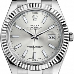 Rolex Datejust II Steel 18K White Gold 41 MM Watch 116334SIO