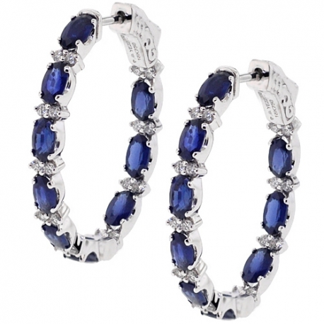 Womens Blue Sapphire Diamond Oval Hoop Earrings 18K Gold 5.21 ct