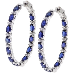 Womens Blue Sapphire Diamond Oval Hoop Earrings 18K Gold 6.92 ct