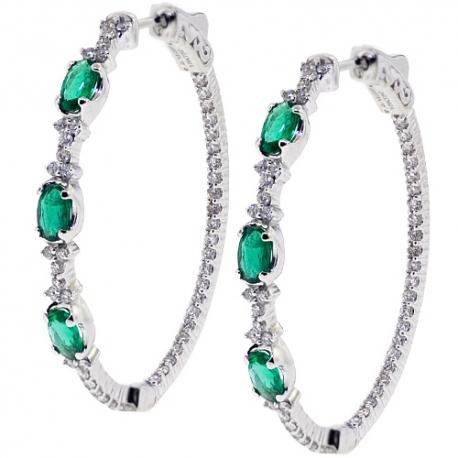 Womens Emerald Diamond Oval Hoop Earrings 18K Gold 2.27 ct