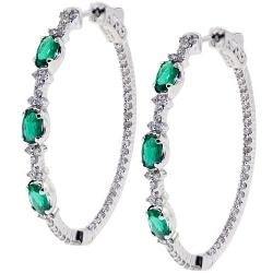 18K White Gold 2.27 ct Emerald Diamond Oval Hoop Earrings