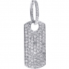 Mens Iced Out Diamond Dog Tag ID Pendant 14K White Gold 3.96 ct