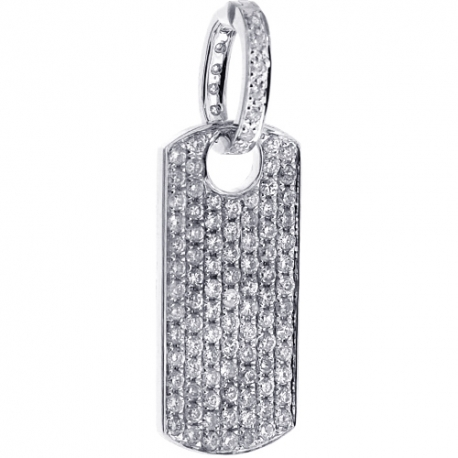 Mens Full Diamond Dog Tag ID Pendant 14K White Gold 1.79ct