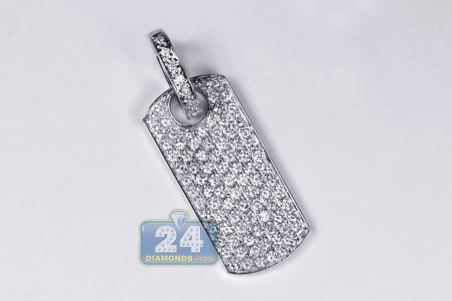 Mens full diamond dog tag id pendant 14k white gold 179ct mozeypictures Images