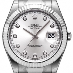 Rolex Datejust II Steel White Gold Diamond Silver Dial Watch 116334SDO