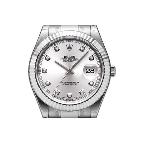 116334SDO Rolex Datejust II Steel White Gold Diamond Dial Watch