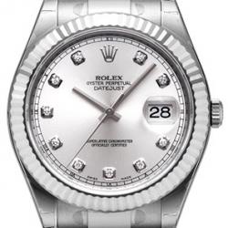 Rolex Datejust II Steel White Gold Diamond Silver Dial Watch 116334SDO
