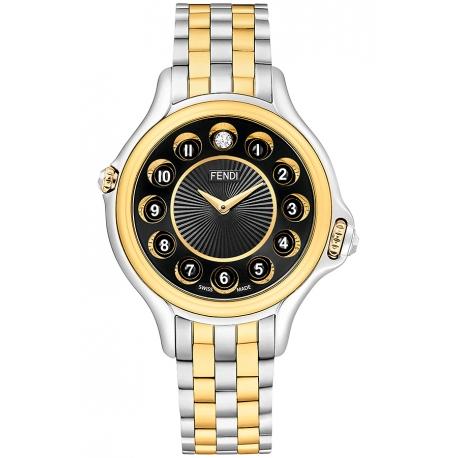 F107121000T07 Fendi Crazy Carats Black Dial Two Tone Watch 33mm