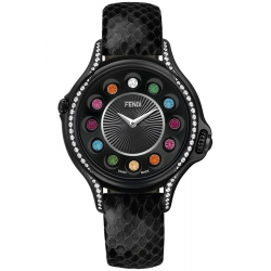 F110021011C0T05 Fendi Crazy Carats Black Leather Diamond Watch 33mm