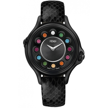F110031011T05 Fendi Crazy Carats Black Case Leather Watch 38mm