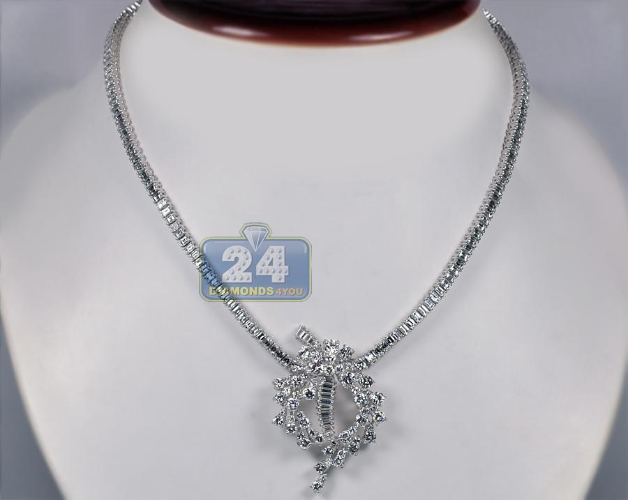 womens diamond pendant necklace 18k white gold 17. Black Bedroom Furniture Sets. Home Design Ideas