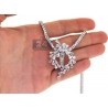 Womens Diamond Pendant Necklace 18K White Gold 24.00ct 17""